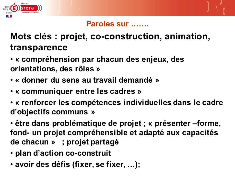Mots clés : projet, co-construction, animation, transparence