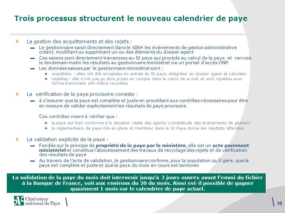 Trois processus structurent le nouveau calendrier de paye
