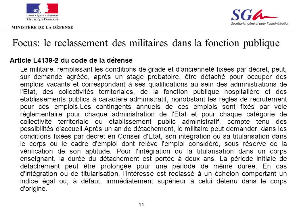 Focus: le reclassement des militaires dans la fonction publique