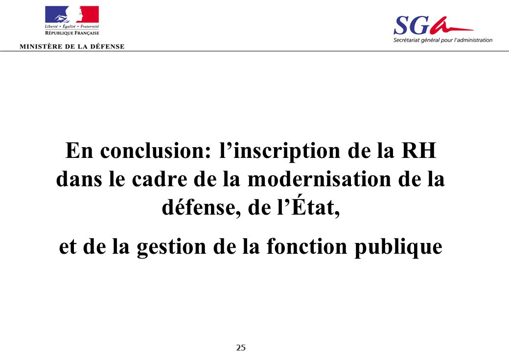 En conclusion: l'inscription de la RH dans le cadre de la modernisation de la défense, de l'État, et de la gestion de la fonction publique