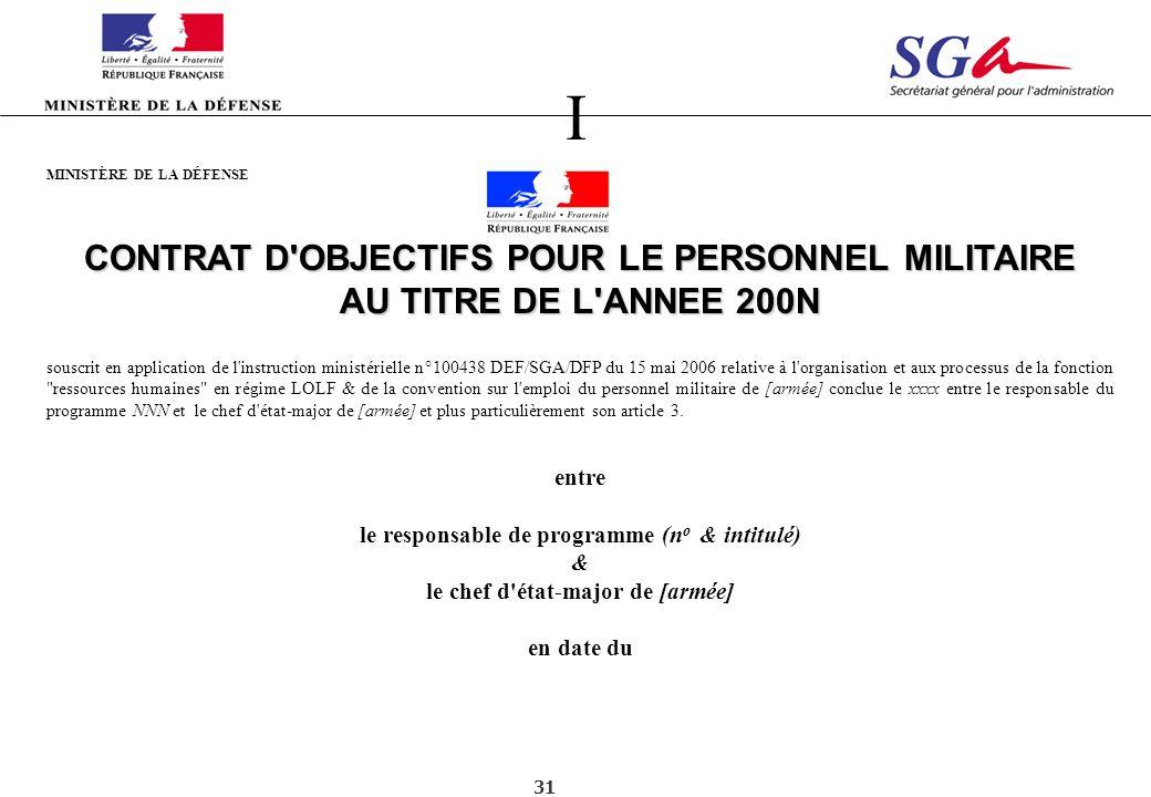I CONTRAT D OBJECTIFS POUR LE PERSONNEL MILITAIRE