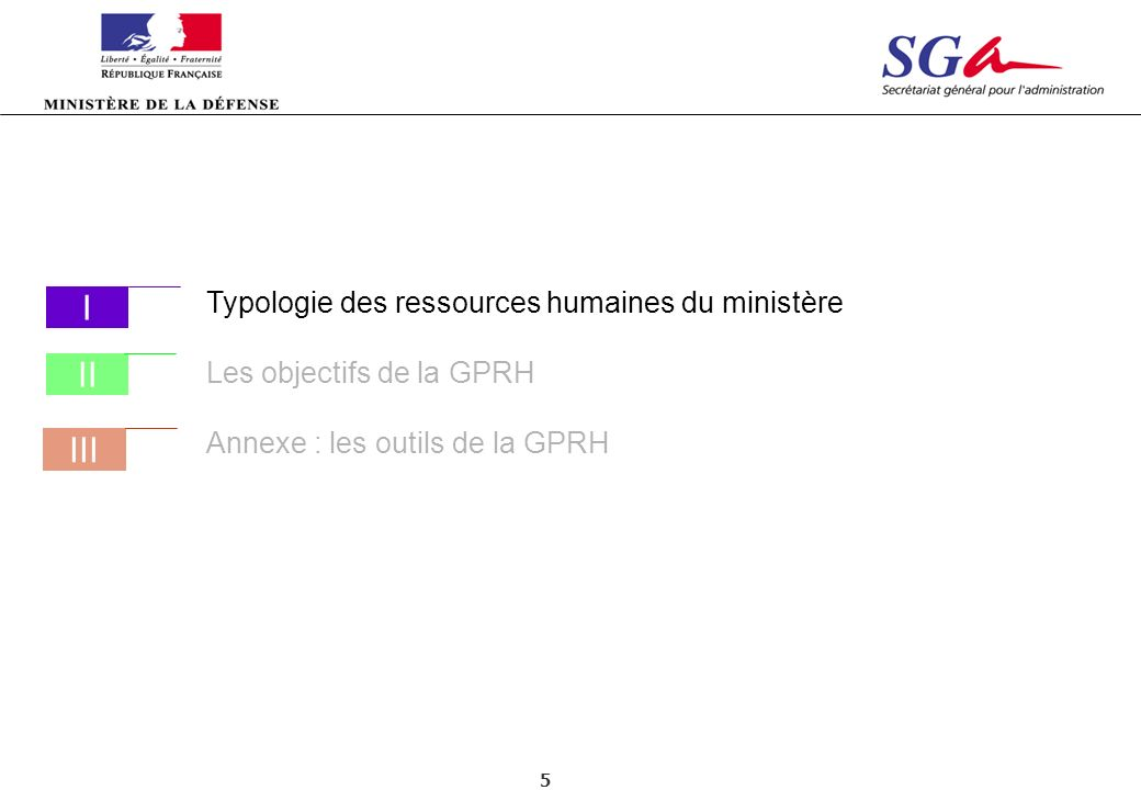 I II III Typologie des ressources humaines du ministère