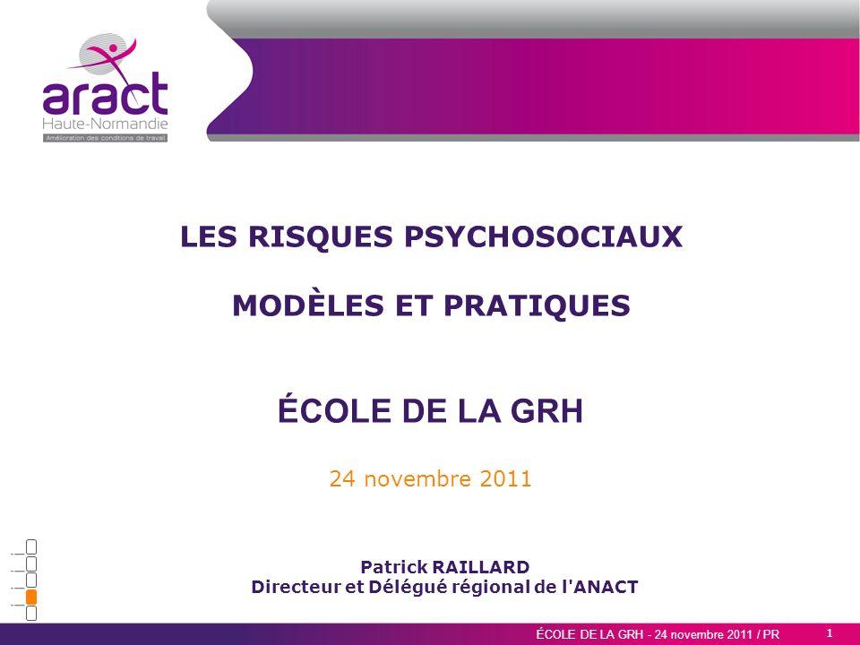 LES RISQUES PSYCHOSOCIAUX Directeur et Délégué régional de l ANACT