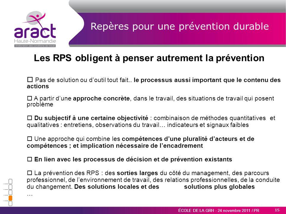 Les RPS obligent à penser autrement la prévention