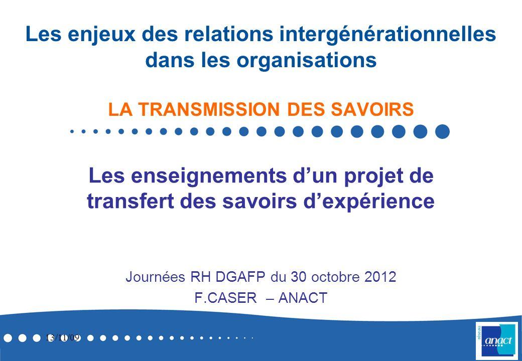 Journées RH DGAFP du 30 octobre 2012 F.CASER – ANACT