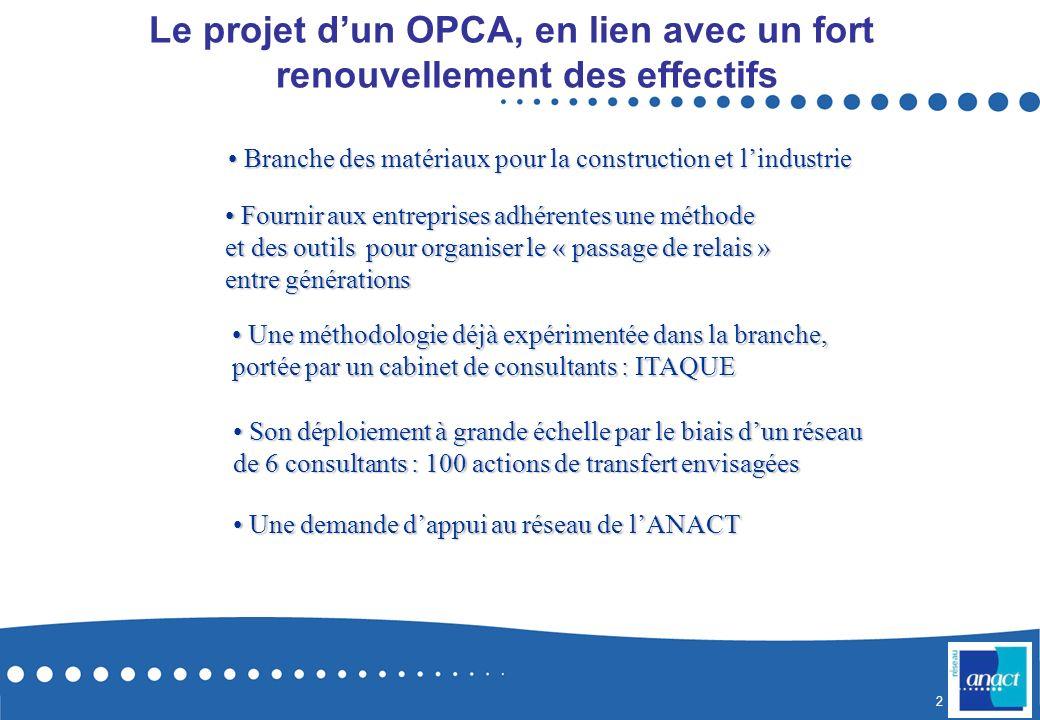 Le projet d'un OPCA, en lien avec un fort renouvellement des effectifs