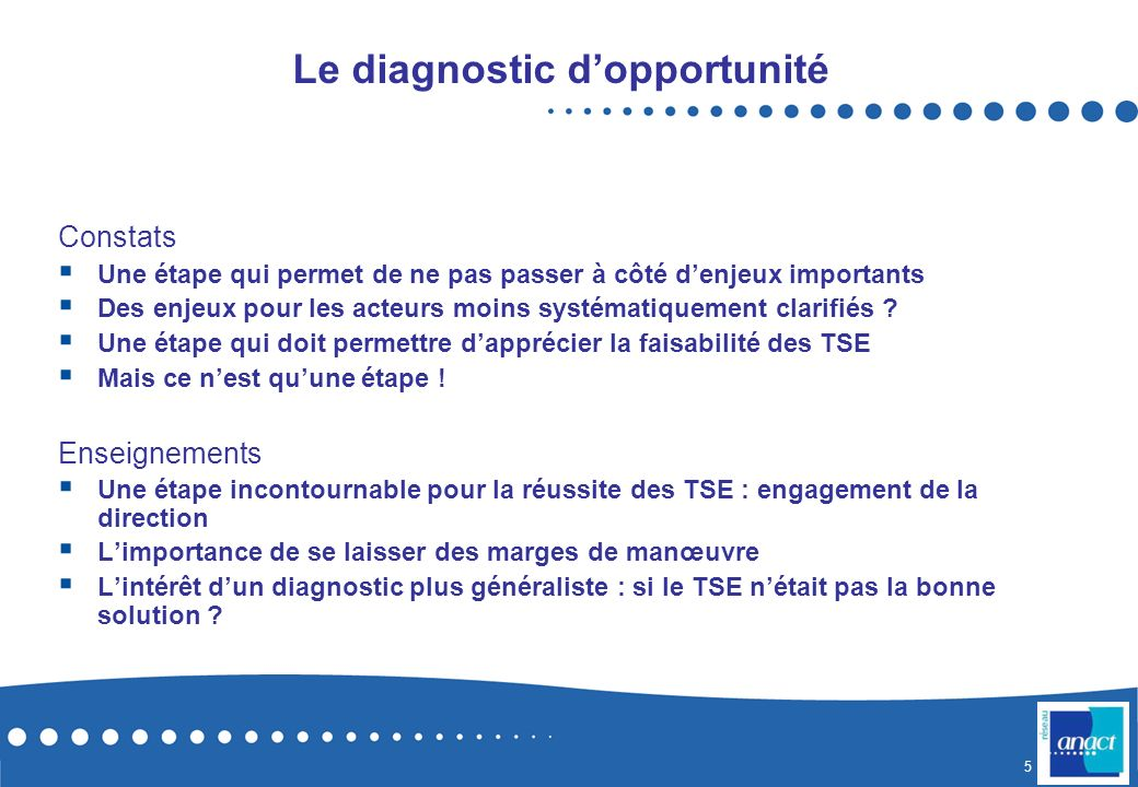 Le diagnostic d'opportunité