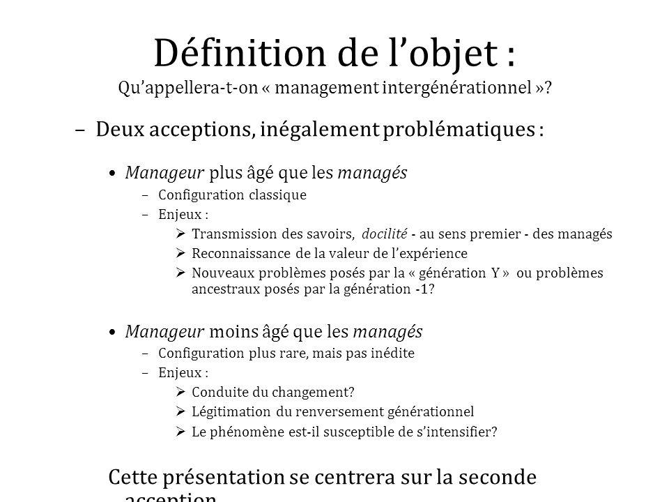 Définition de l'objet : Qu'appellera-t-on « management intergénérationnel »