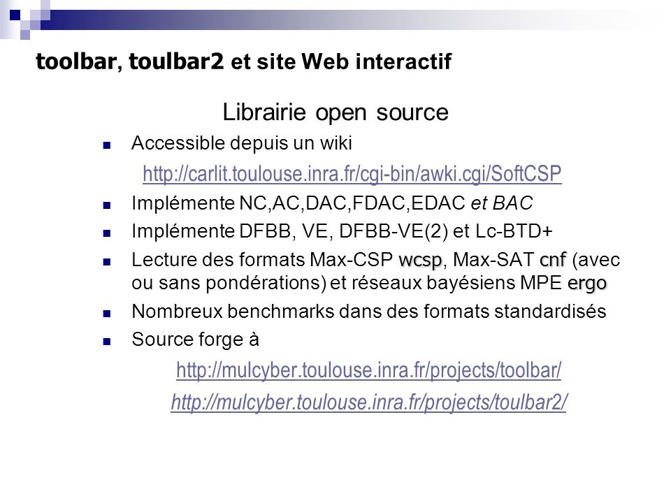toolbar, toulbar2 et site Web interactif
