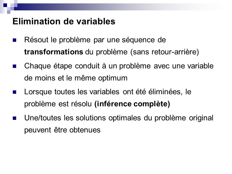 Elimination de variables