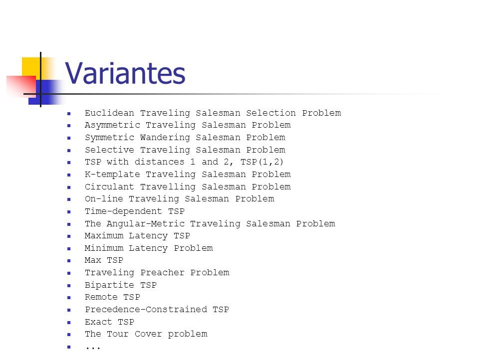 Variantes Euclidean Traveling Salesman Selection Problem