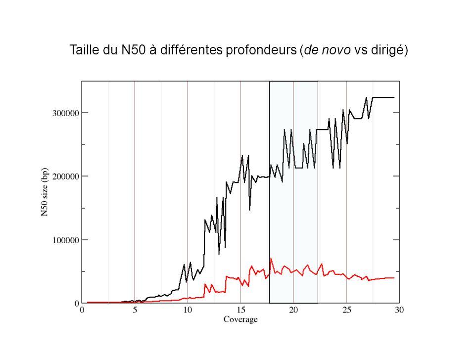 Taille du N50 à différentes profondeurs (de novo vs dirigé)