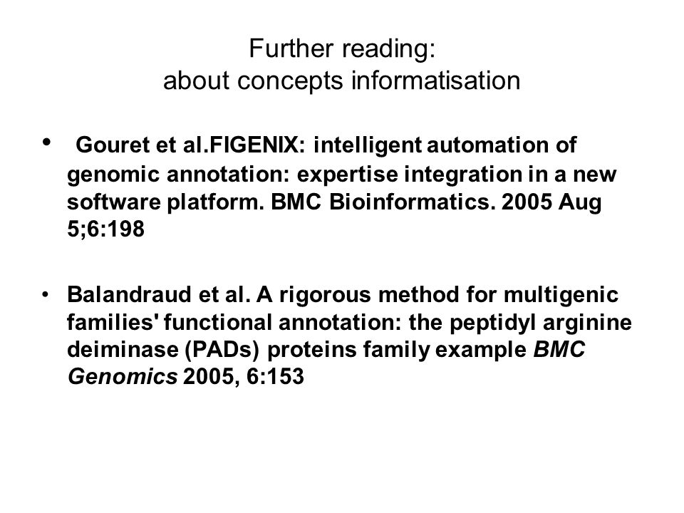 Further reading: about concepts informatisation