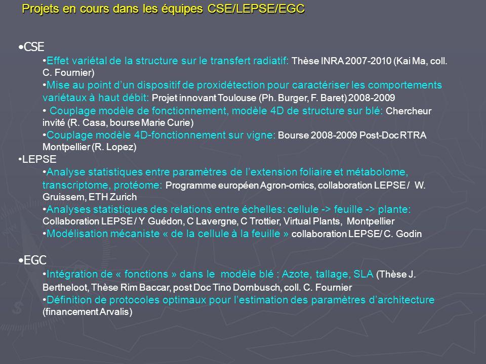 Projets en cours dans les équipes CSE/LEPSE/EGC