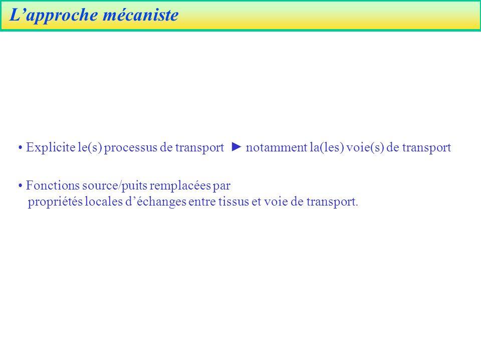 L'approche mécaniste Explicite le(s) processus de transport ► notamment la(les) voie(s) de transport.