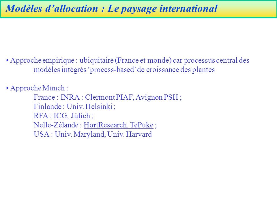 Modèles d'allocation : Le paysage international