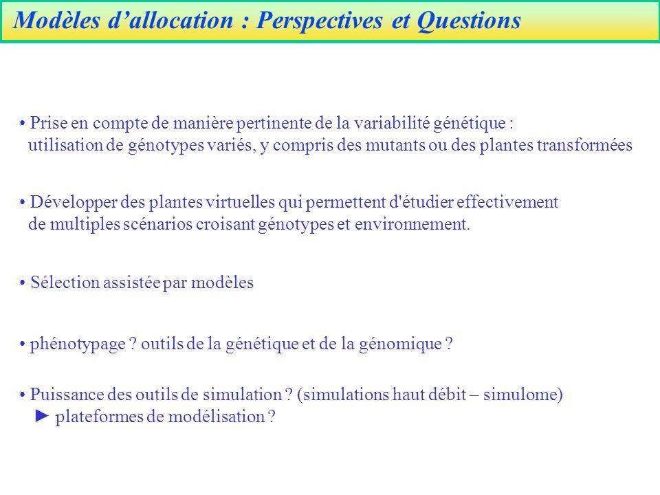 Modèles d'allocation : Perspectives et Questions