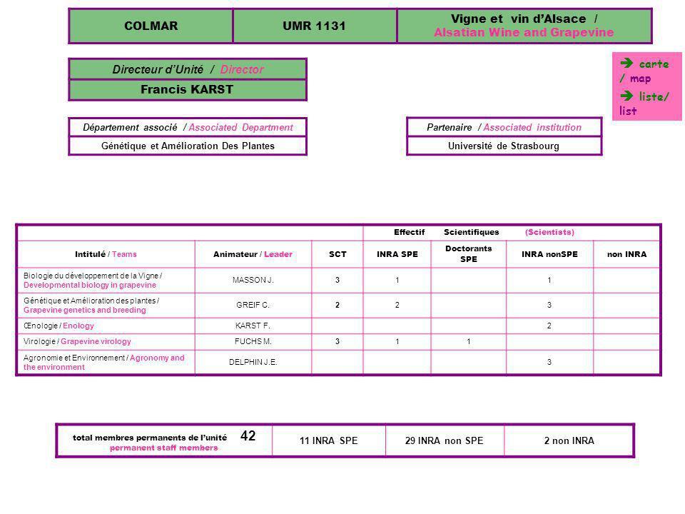  carte / map  liste/ list COLMAR UMR 1131 Vigne et vin d'Alsace /