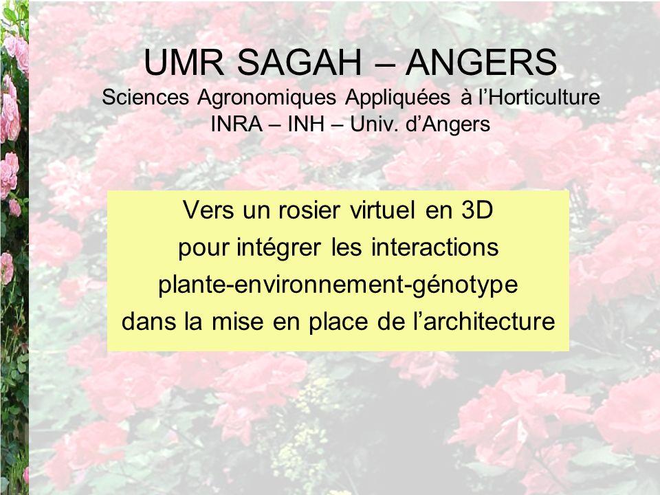 UMR SAGAH – ANGERS Sciences Agronomiques Appliquées à l'Horticulture INRA – INH – Univ. d'Angers