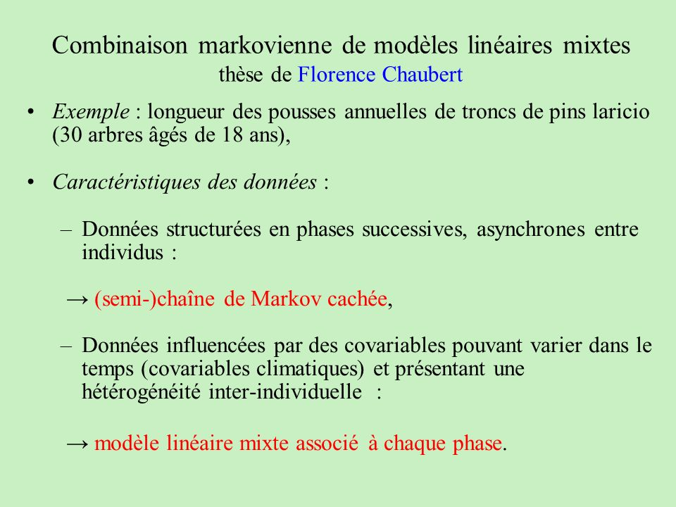 Combinaison markovienne de modèles linéaires mixtes thèse de Florence Chaubert