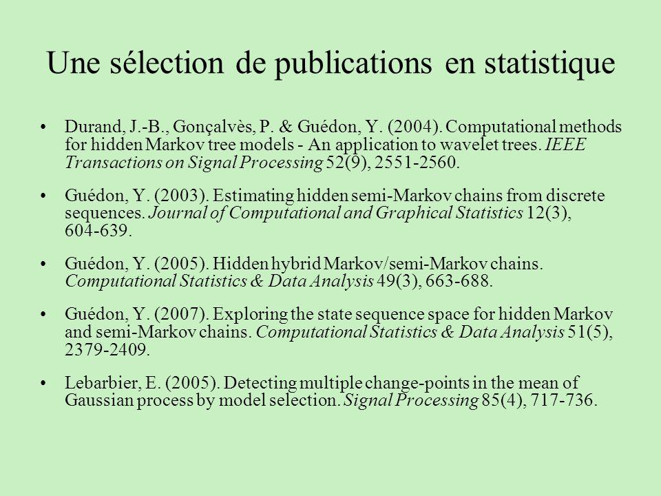 Une sélection de publications en statistique