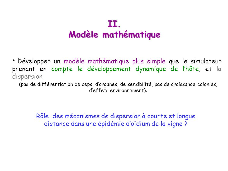 II. Modèle mathématique