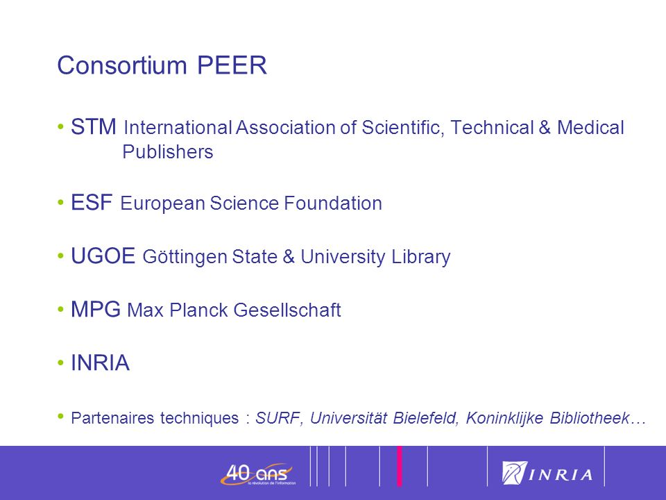 Consortium PEER STM International Association of Scientific, Technical & Medical Publishers.