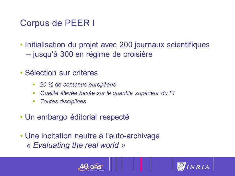 Corpus de PEER I Initialisation du projet avec 200 journaux scientifiques – jusqu'à 300 en régime de croisière.