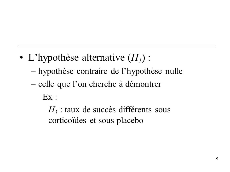 L'hypothèse alternative (H1) :