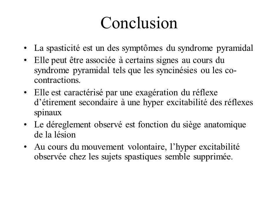Conclusion La spasticité est un des symptômes du syndrome pyramidal