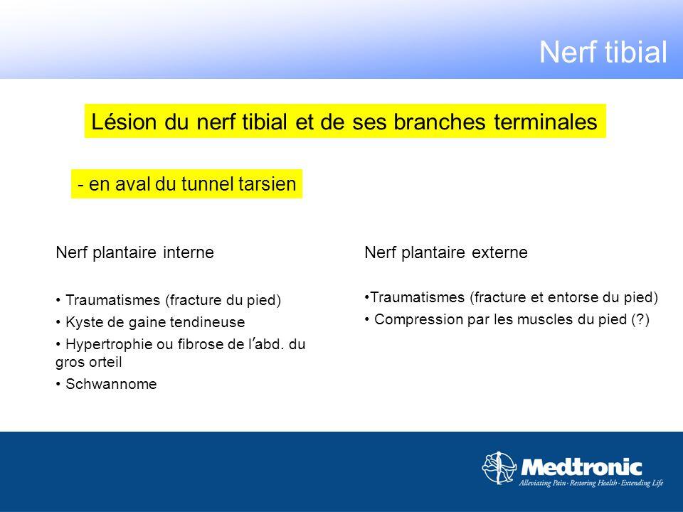 Nerf tibial Lésion du nerf tibial et de ses branches terminales