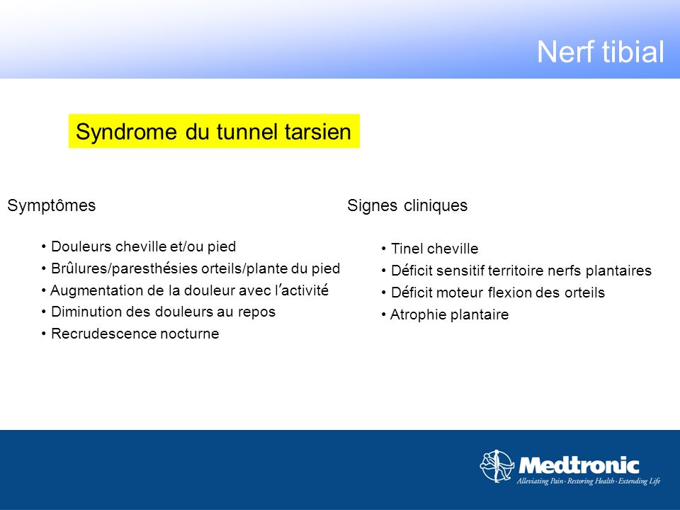 Nerf tibial Syndrome du tunnel tarsien Symptômes Signes cliniques