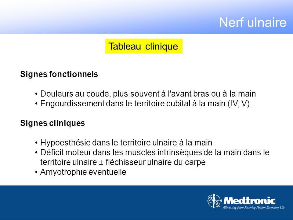 Nerf ulnaire Tableau clinique Signes fonctionnels