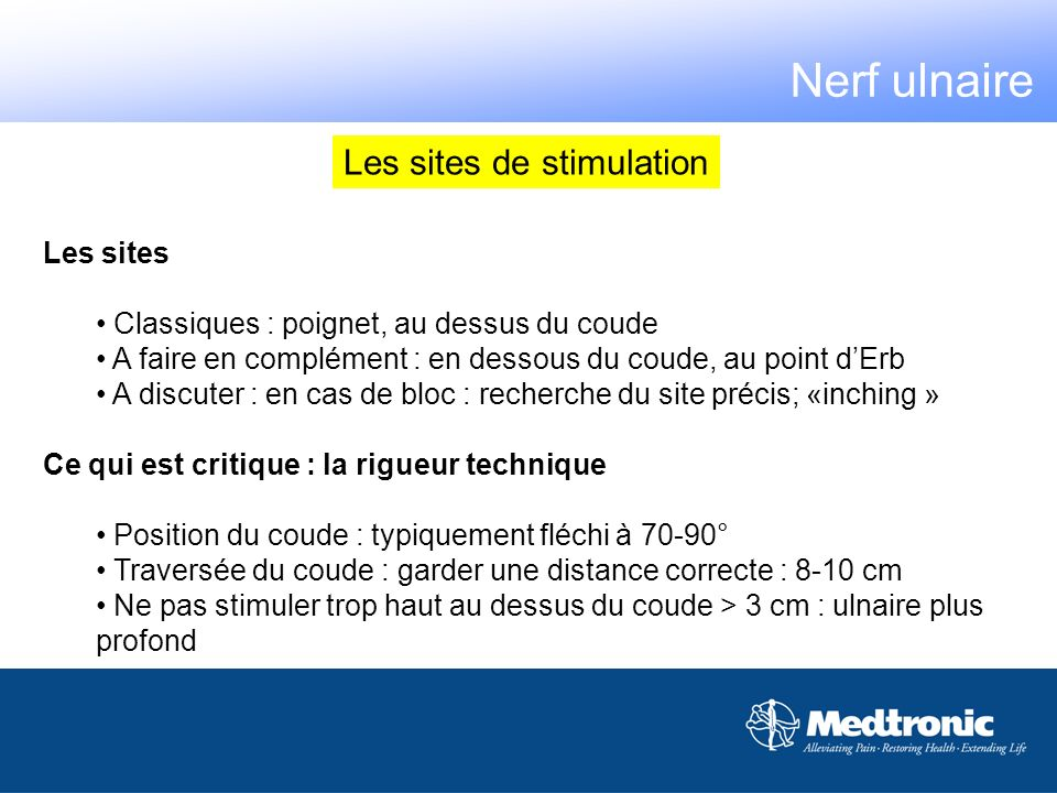 Nerf ulnaire Les sites de stimulation Les sites