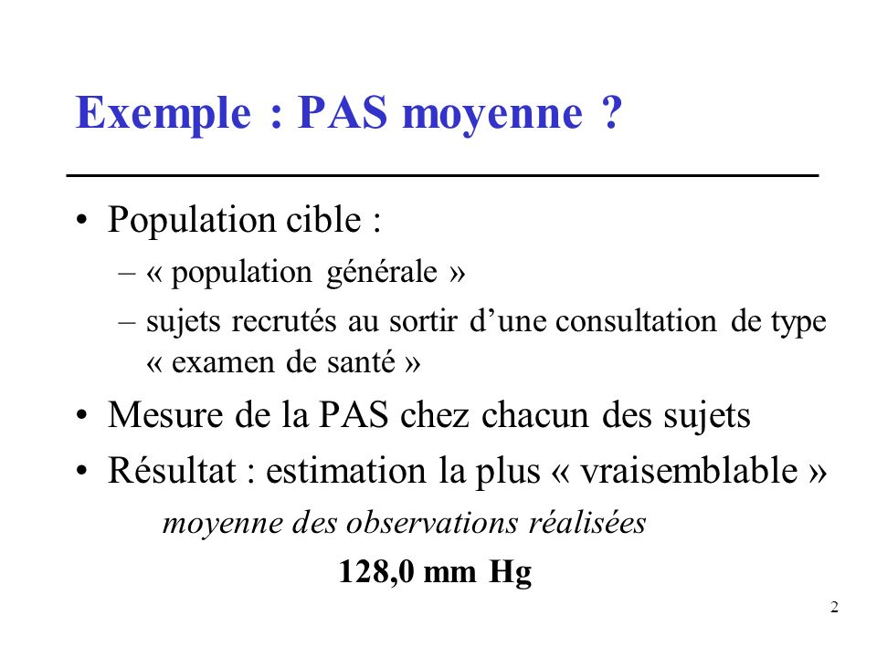 Exemple : PAS moyenne Population cible :