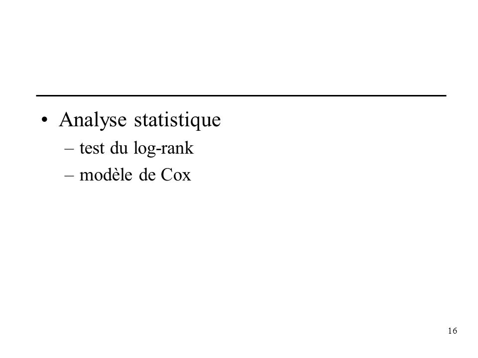 Analyse statistique test du log-rank modèle de Cox