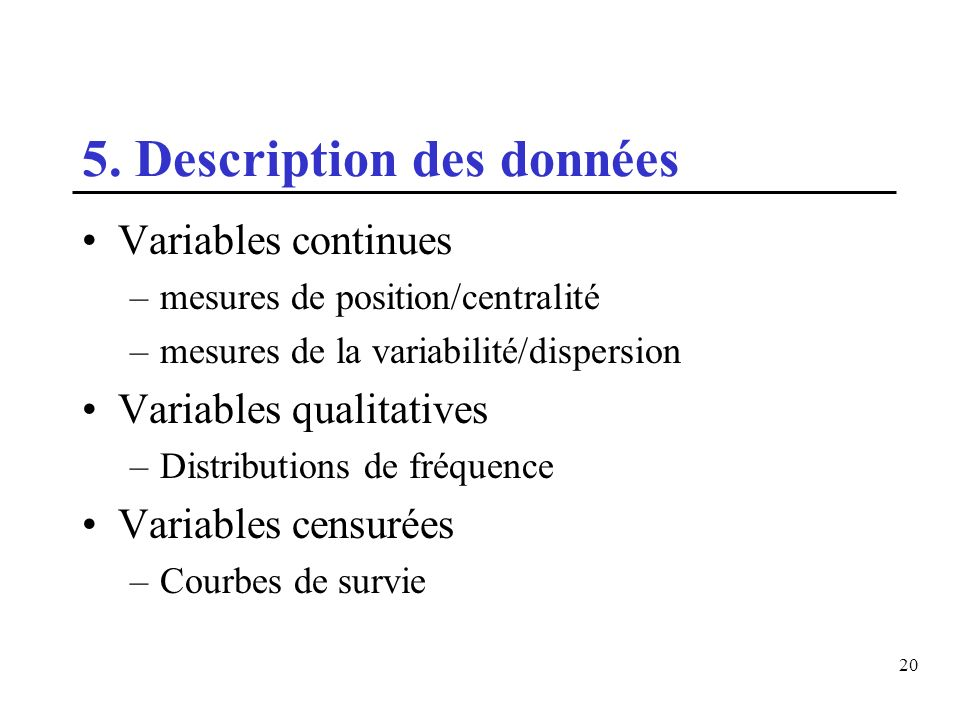 5. Description des données