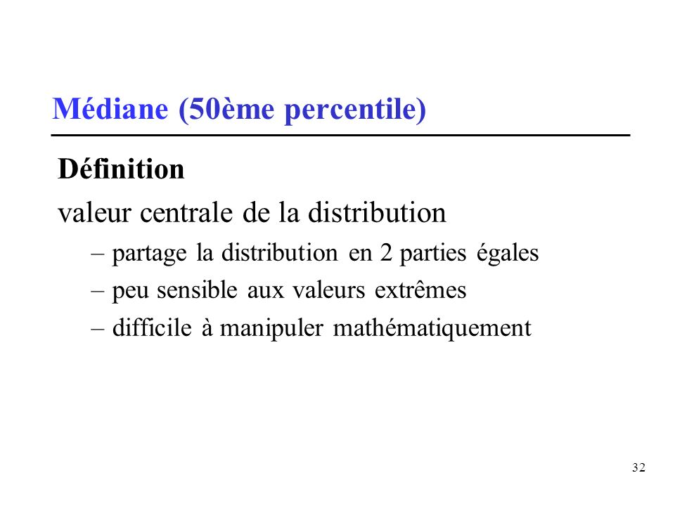 Médiane (50ème percentile)