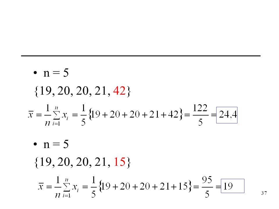 n = 5 {19, 20, 20, 21, 42} {19, 20, 20, 21, 15}