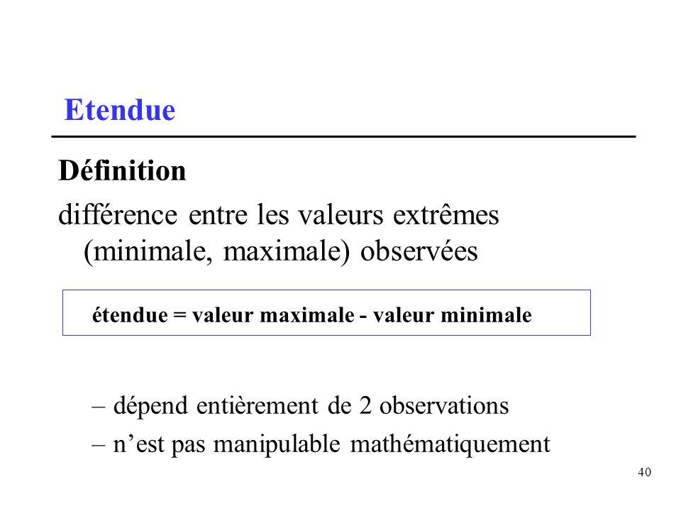 Etendue Définition. différence entre les valeurs extrêmes (minimale, maximale) observées. étendue = valeur maximale - valeur minimale.