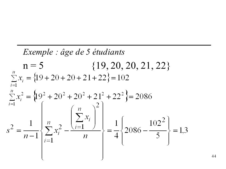 Exemple : âge de 5 étudiants