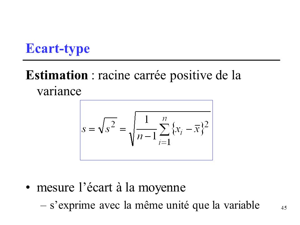 Ecart-type Estimation : racine carrée positive de la variance