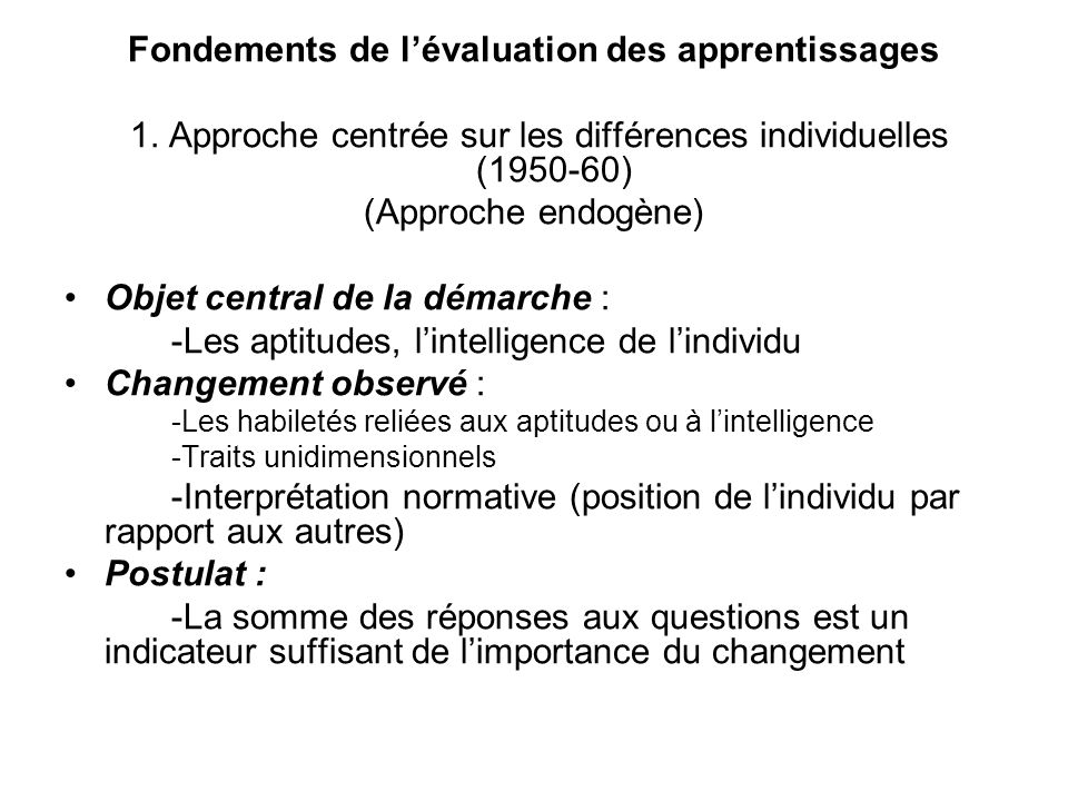 Fondements de l'évaluation des apprentissages