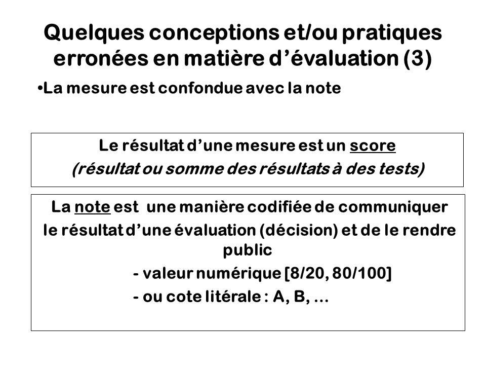 Quelques conceptions et/ou pratiques erronées en matière d'évaluation (3)