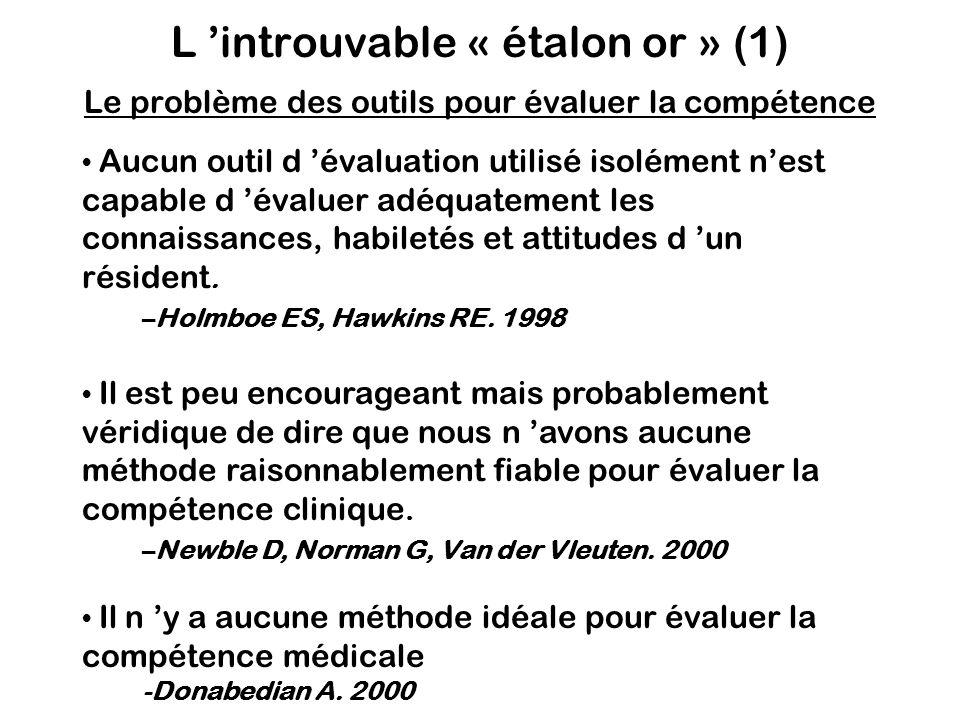 L 'introuvable « étalon or » (1) Le problème des outils pour évaluer la compétence