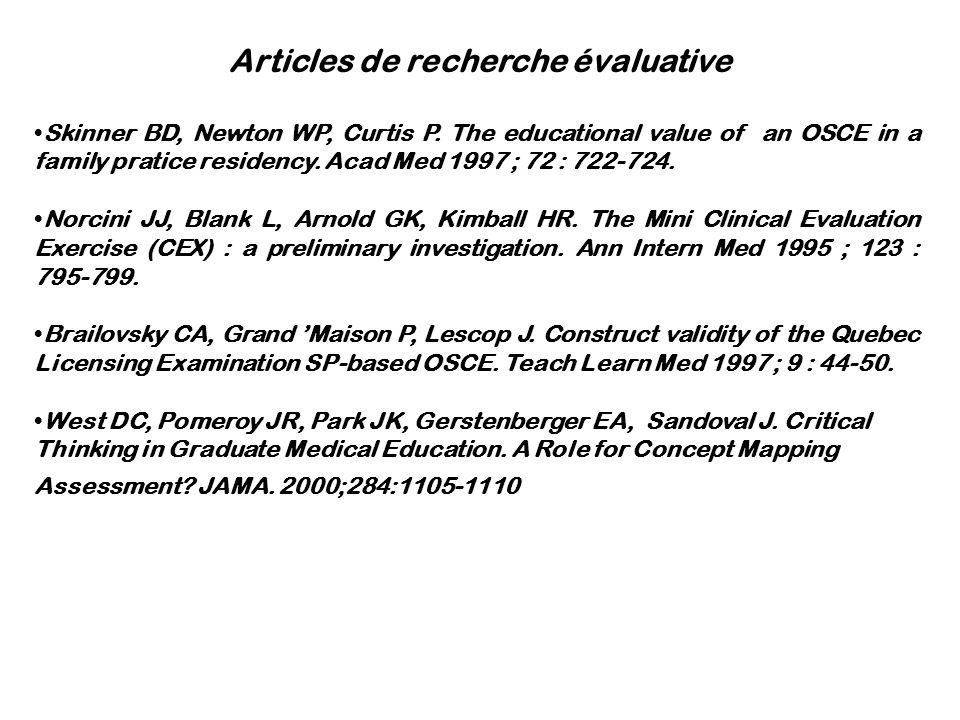 Articles de recherche évaluative