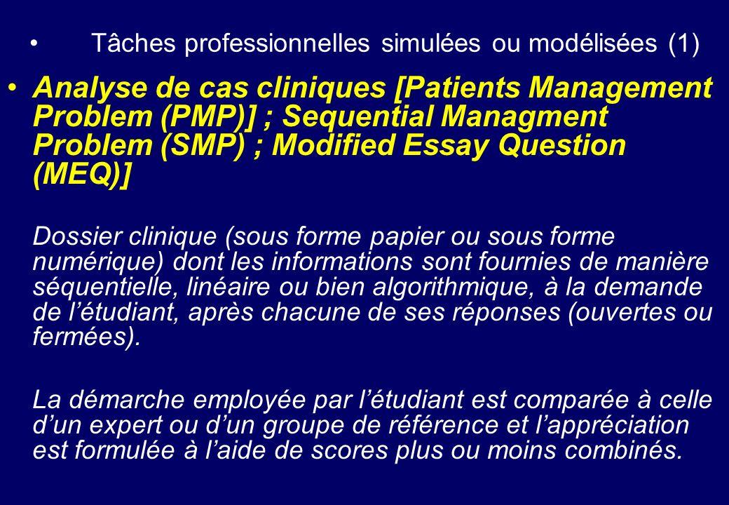 Tâches professionnelles simulées ou modélisées (1)