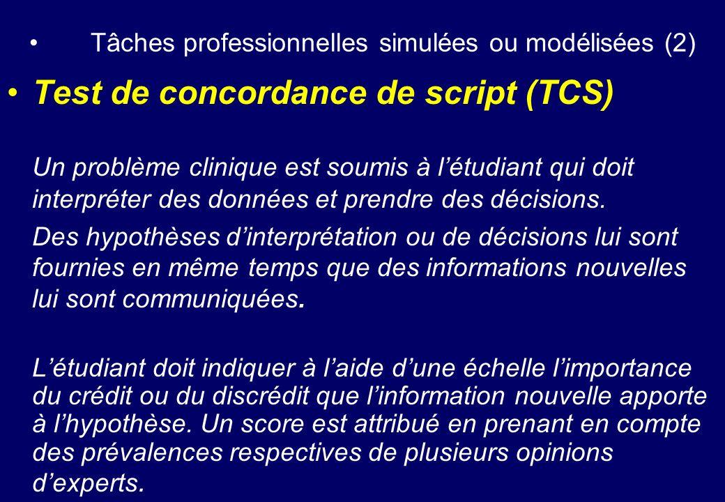 Tâches professionnelles simulées ou modélisées (2)