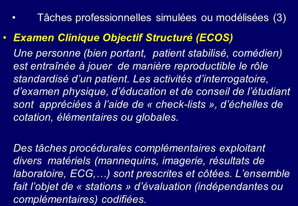 Tâches professionnelles simulées ou modélisées (3)