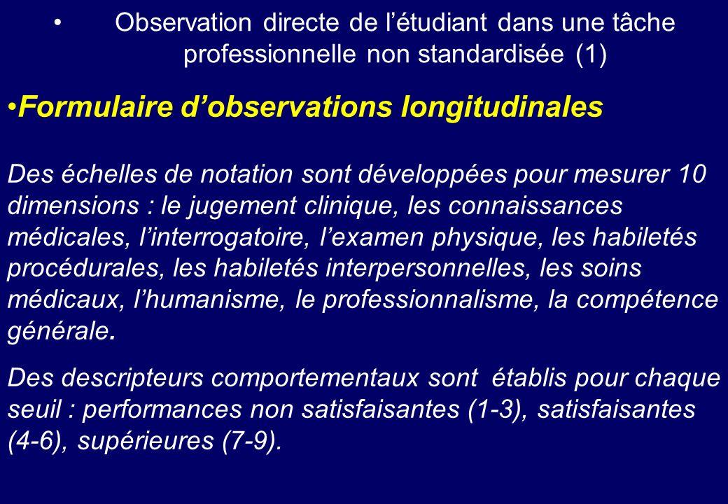 Formulaire d'observations longitudinales